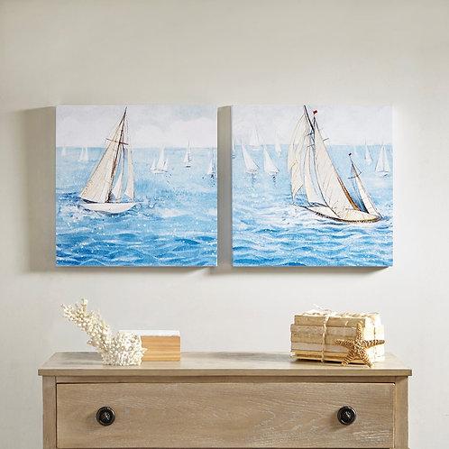 Sailing Regatta 2 Piece Canvas Art Set Gel CoatingBy Madison Park