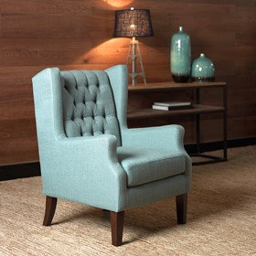 Maxwell Button Tufted Wing Chair by Madison Park