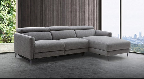 Divani Casa Lupita - Modern Grey Fabric Sectional with Right Facing Chaise