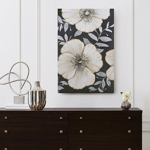 Opulence Bloom Gold Foil Floral Canvas Art Hand Embellished by Madison Park