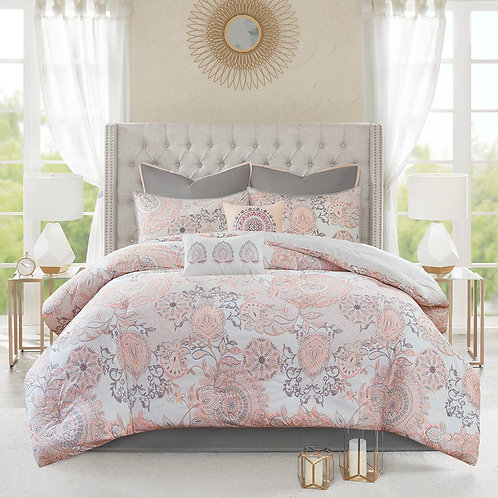 Isla 8 Piece Cotton Printed Reversible Comforter Set