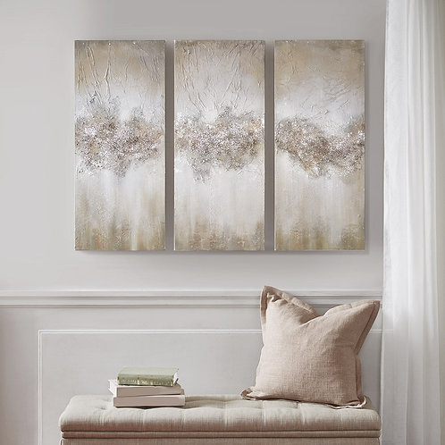 Taupe Luminous Hand Painted Canvas  By Madison Park