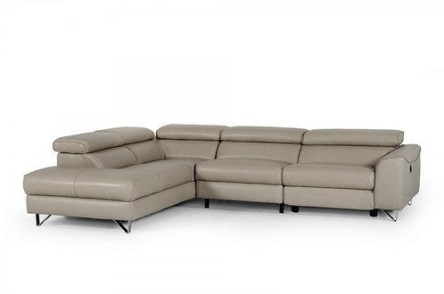 Divani Casa Versa Modern Light Taupe Teco-Leather LAF Chaise Sectional w/ Reclin