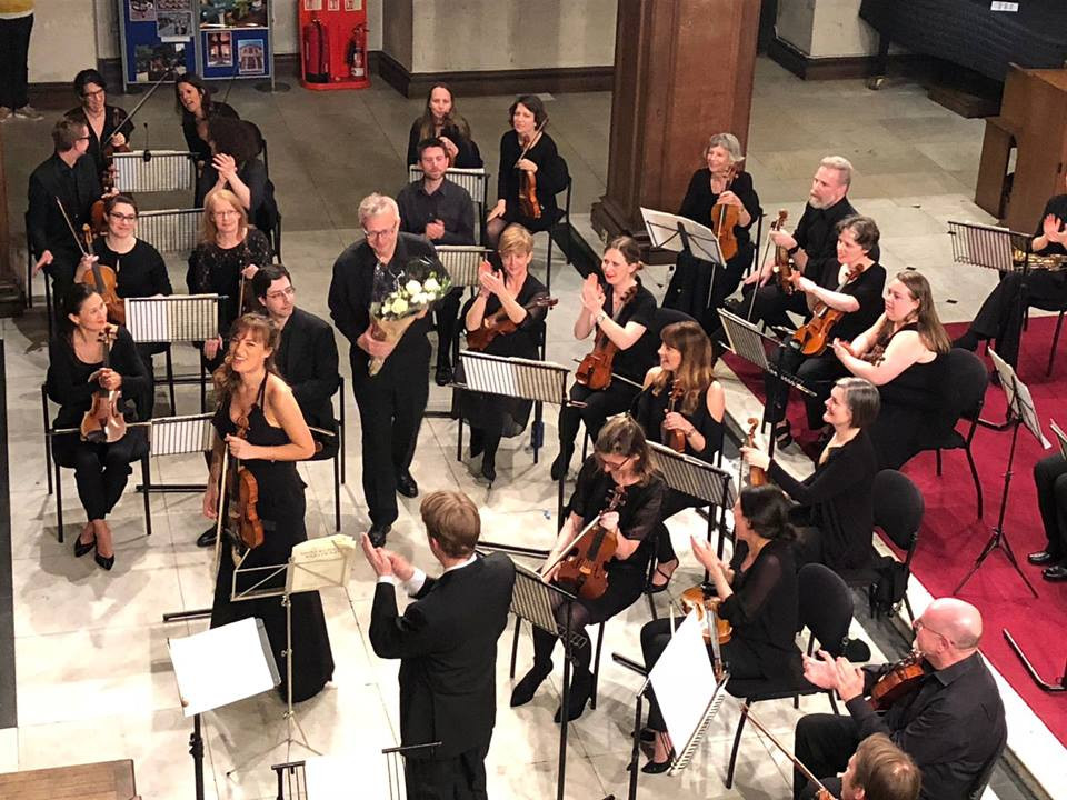 Violinist Nicola Benedetti and conductor Eamonn Dougan with Corinthian Chamber Orchestra