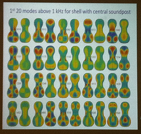 Violin acoustics research slide by Colin Gough