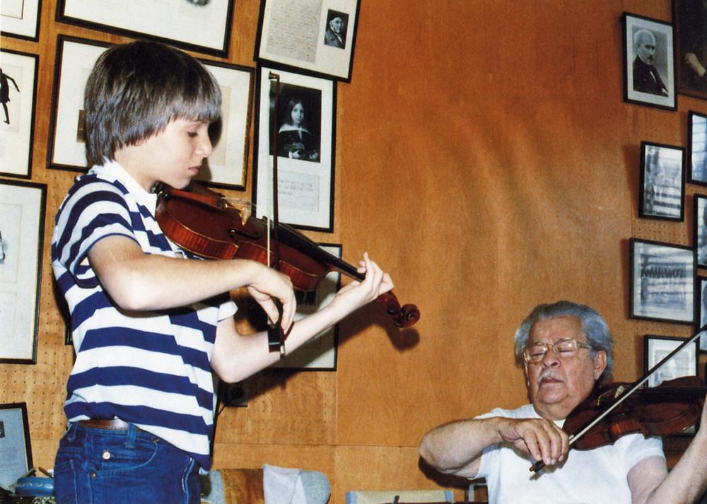 Josef Gingold teaches Joshua Bell. Photo courtesy Indiana University