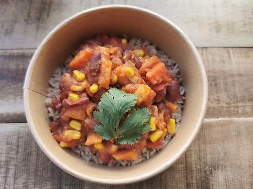 Bowl latino végétarien ou avec la viande de boeuf