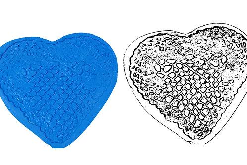 Ref. 026 - MOLDE  Coração Crochê – medida: 11 x 11 cm