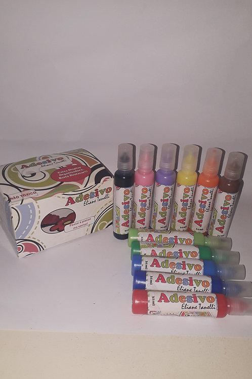Kit 01 - Adesivo Colorido c 12 frascos.