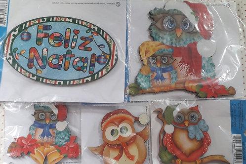 Conjunto Coruja Natal de MDF da Litoarte