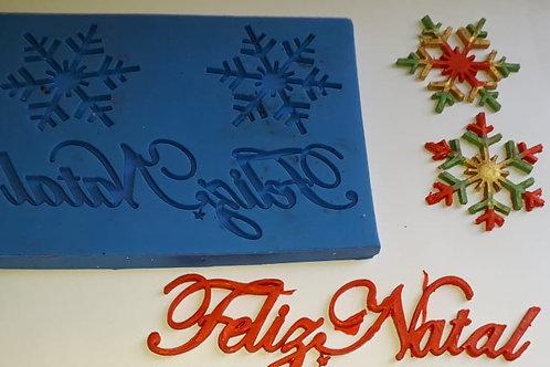 NATAL REF 013 - Molde de Silicone Feliz Natal com Estrelas - Exclusivo
