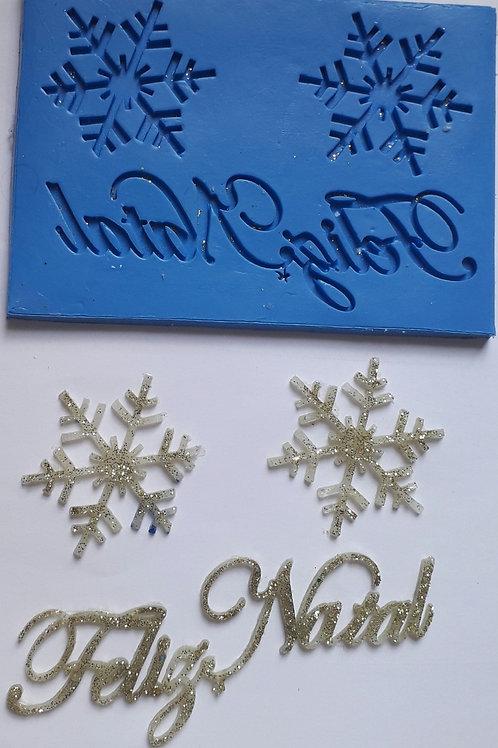 Molde de silicone Feliz Natal 13 x 9 cm