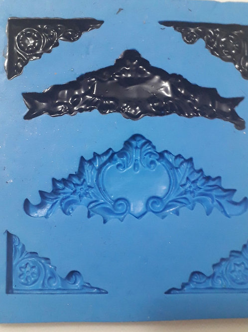 REF.054 - Molde de Silicone Cantoneira/moldura Vintage