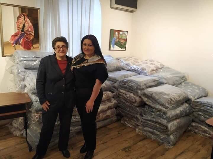 Zaruhi Muradyan (left) and Lilit Arakelian (right) from the Muradyan Art Gallery Initiative. in Armenia helping Artsakh refugees.