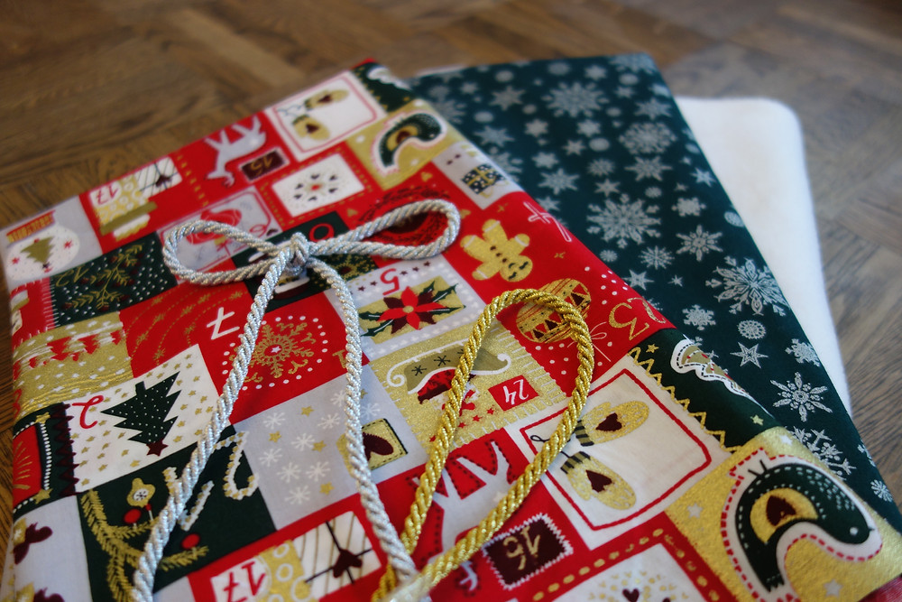 Materials for making a Christmas Stocking.