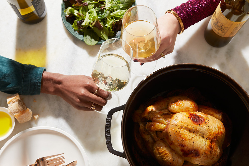 Dinner with wine from The Femme Vine with Ally Chapman and Esther Ajose founder of Outtakes Truth Uncut. Photo by: Patricia Niven    Food Styling: Loïc Parisot