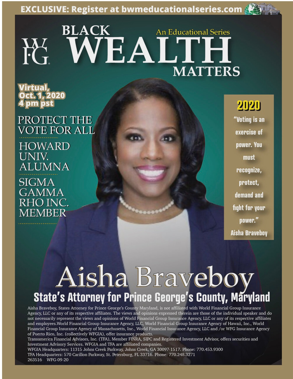 Aisaha Braveboy the first speaker of the Black Wealth Matters Series 1.