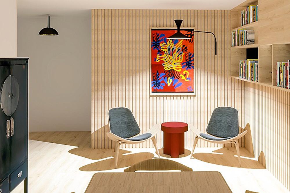 interior design reading nook of a Parisian apartment. Showcasing Parisian design by studio sensibilite's Shana Weisberg.