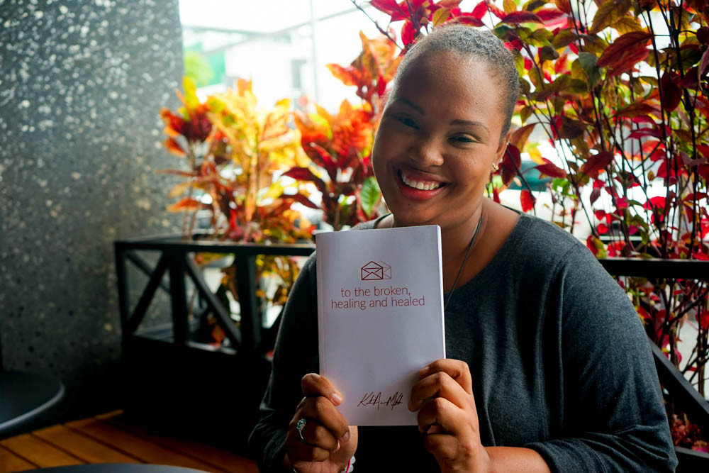 """Katrina McIntosh founder of Persons With Mental Illness (PWMI) showcasing her book, """"Letters to the Broken, Healing & Healed."""""""