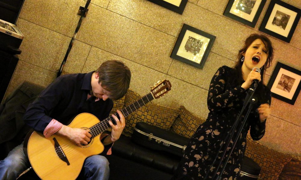 Von Banke (right) when with singing in her duo Sing String with Jimmy Brennan (left). Photographed by Laura Forde.