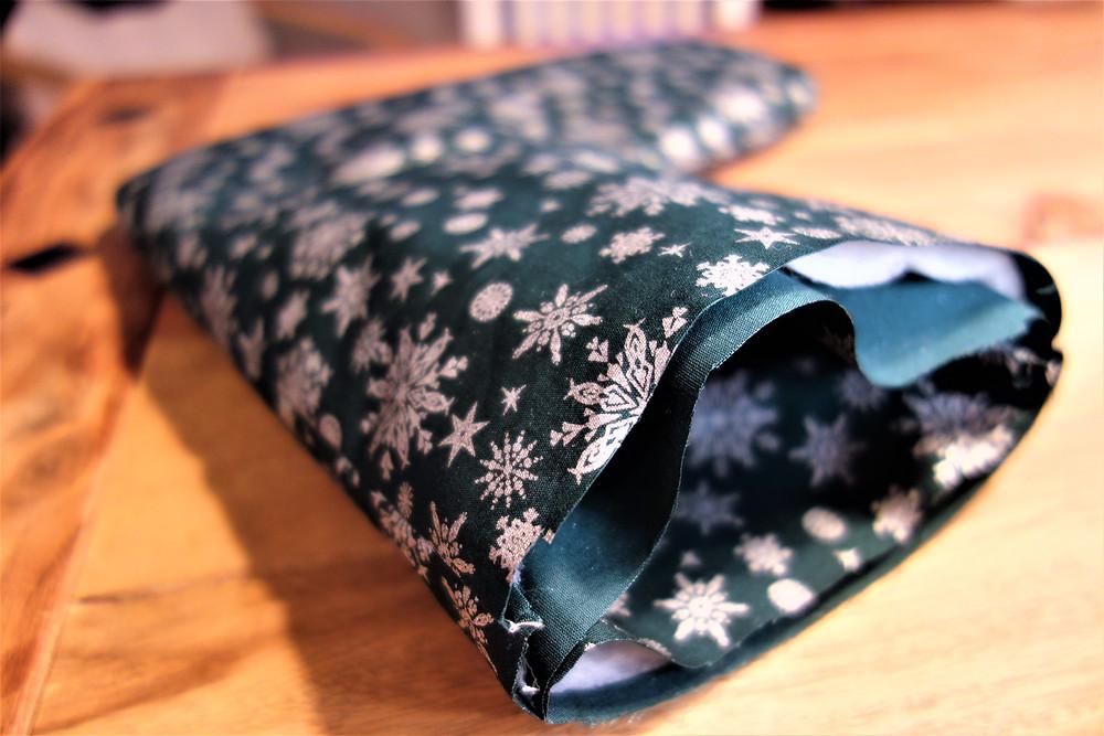 The layering polar fleece inside the Christmas stocking will add shape.