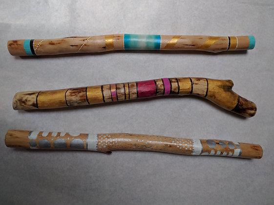 Hand painted birch talking sticks