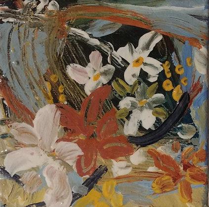 2#.Mama's little flowers original painting  4x 4
