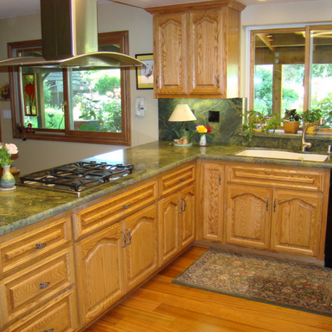 Red Oak Custom Finished Cabinets