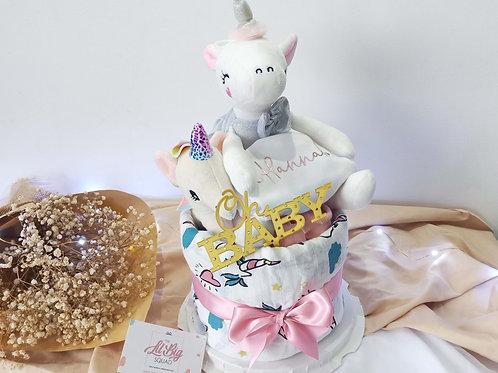 LOVELY UNICORN DIAPER CAKE