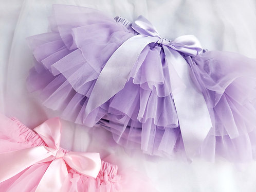TULLE RUFFLE BOW BLOOMERS