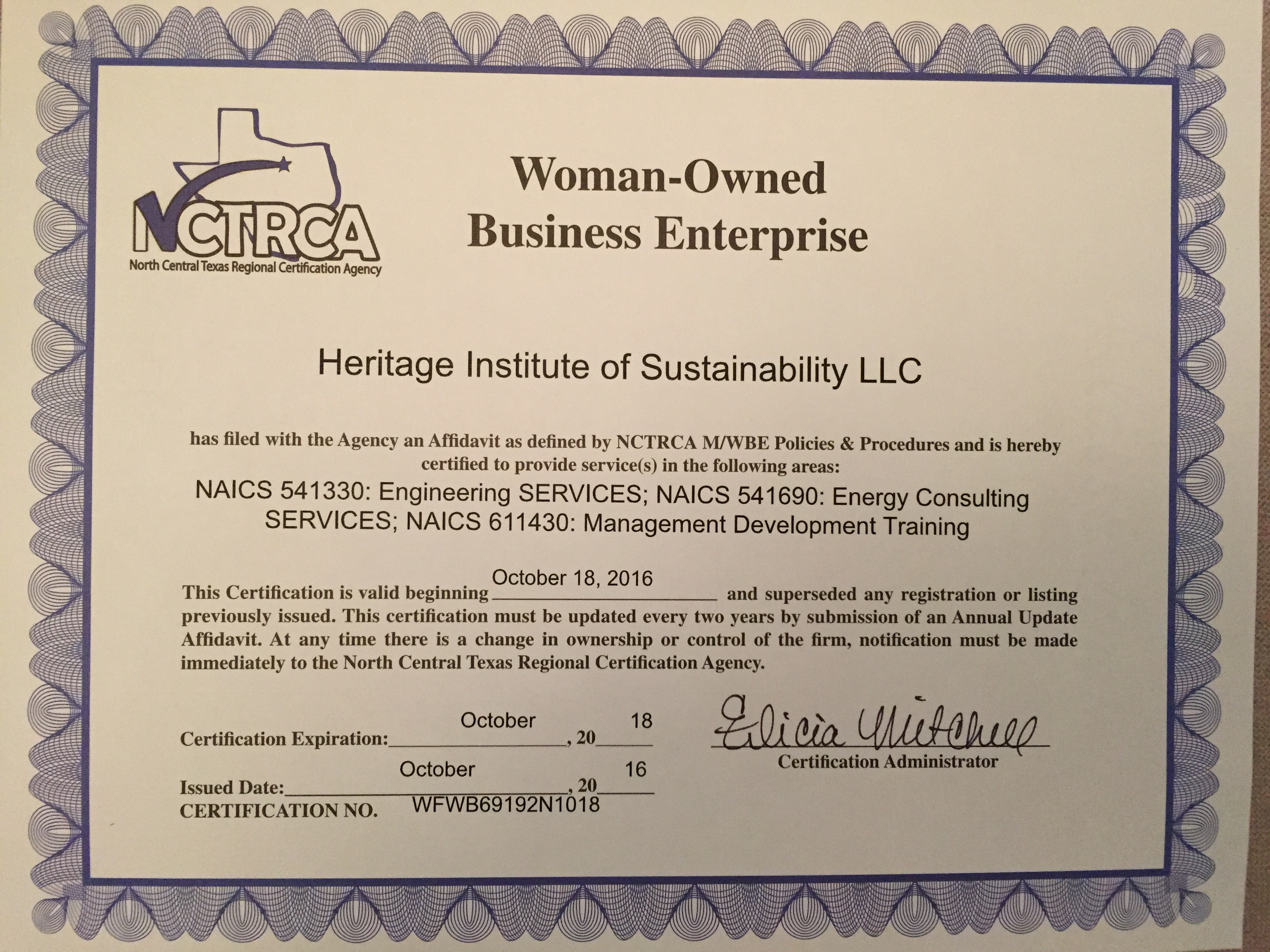 Heritage Ios Is Mwbe Certified Sustainability United States