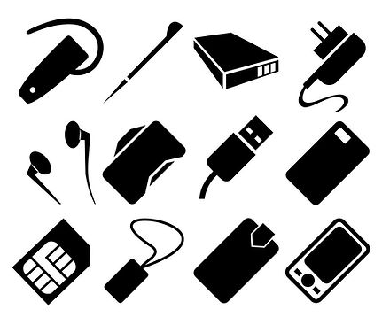mobile-phone-accessories-icon-set-vector