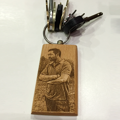 Wood engraving keychain