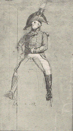 Pencil drawing showing light damge to artwrk