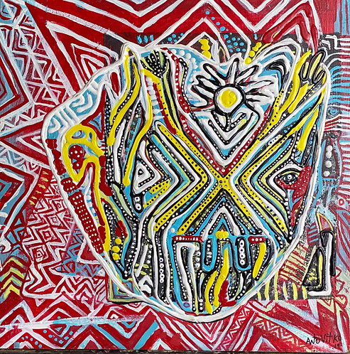 "Original Tribal Expressionist Painting, 3d acrylic on wood""Thanking Mask"""