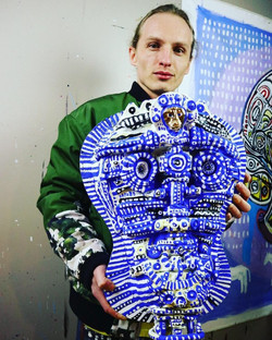 Anton with a Sculpture Painting