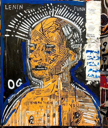 "Original Tribal Expressionist Painting, Mixed Media on wood""Punk Lenin"""