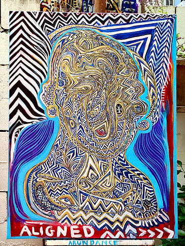 "Original painting ""Aligned"" in Metaphysical Tribal Expressionism"
