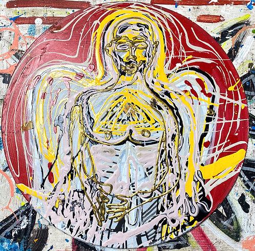 "Original Tribal Expressionist Acrylic Postmodern Painting ""Splattered Angel"""