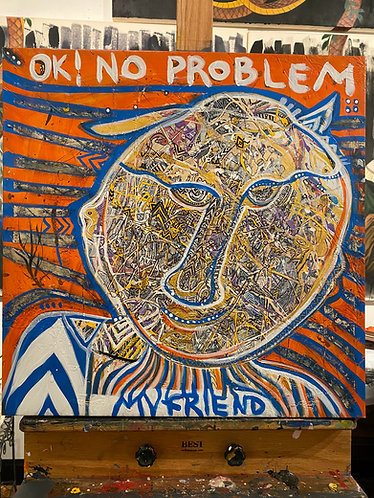 "Original painting ""No Problem My friend"" in Metaphysical Tribal Expressionism"