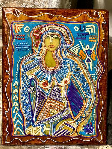 "Original tribal expressionist ""About a girl"" 3d texture painting on vintage wood"