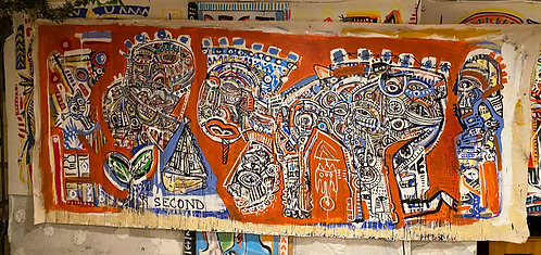"""HUGE !! Unstretched Original Expressionist Acrylic Painting """"One Second"""""""