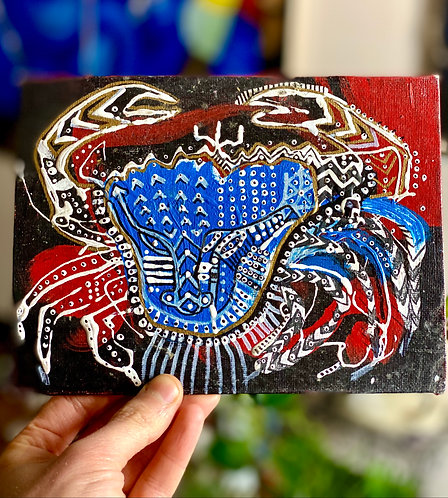 """Original Tribal Expressionist painting on canvas card """"Crab"""""""