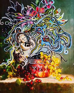 Abundance painting on a cardboard