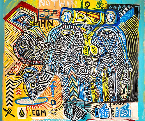 """Unstretched Original Expressionist Acrylic Painting """"SMHN/NOTHIN.COM"""""""