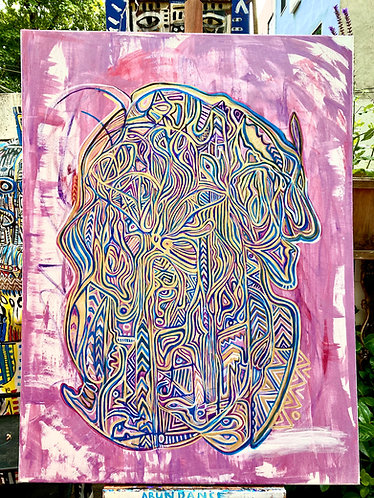 """Original hand-painted """"City within"""" Metaphysical Tribal Expressionist style"""