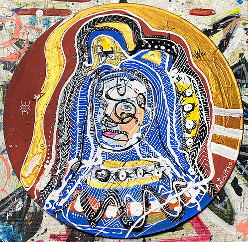 """Original Tribal Expressionist Acrylic Postmodern Painting """"Protected"""""""