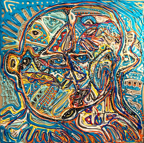 """Original Tribal Expressionist Painting, 3d acrylic on wood""""Two In One"""""""