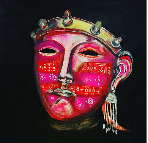 "Original Expressionist Acrylic Painting ""Dutch/Indian Mask"""