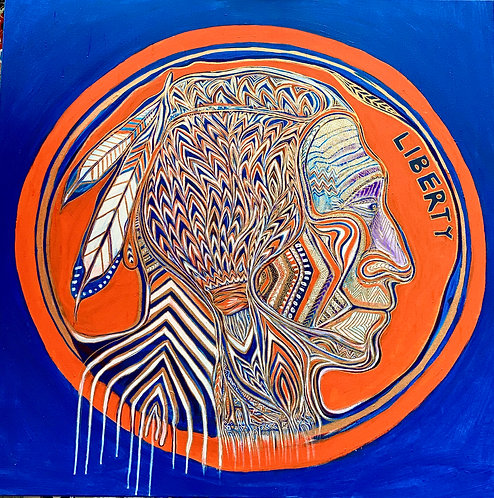 "Original Iridescent painting ""Buffalo Nickel"" Metaphysical Tribal Expressionism"